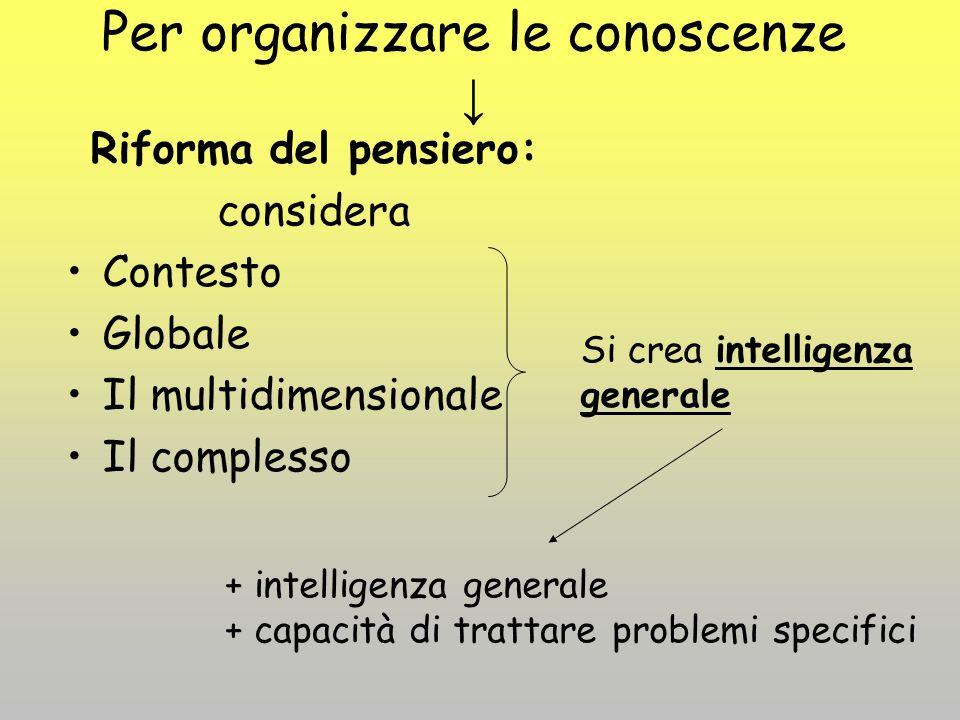 Per organizzare le conoscenze ↓