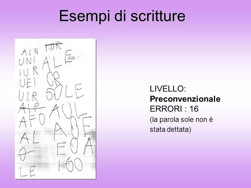 Esempi di scritture LIVELLO: Preconvenzionale ERRORI : 16