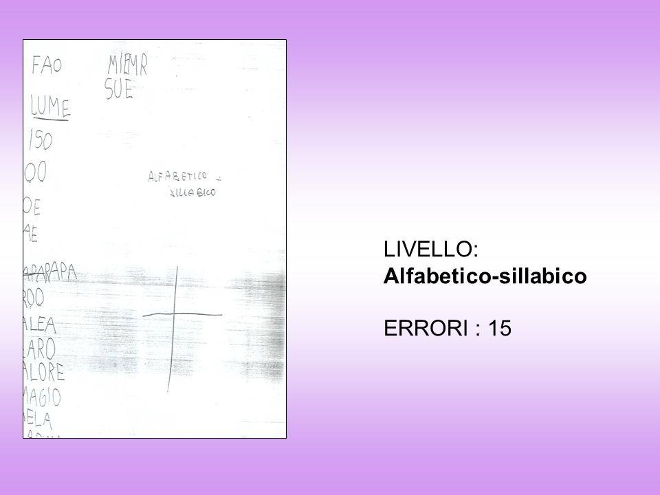 LIVELLO: Alfabetico-sillabico