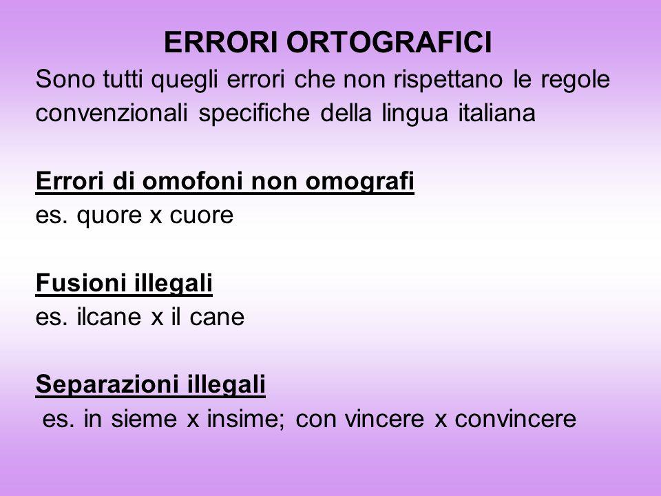 ERRORI ORTOGRAFICISono tutti quegli errori che non rispettano le regole. convenzionali specifiche della lingua italiana.