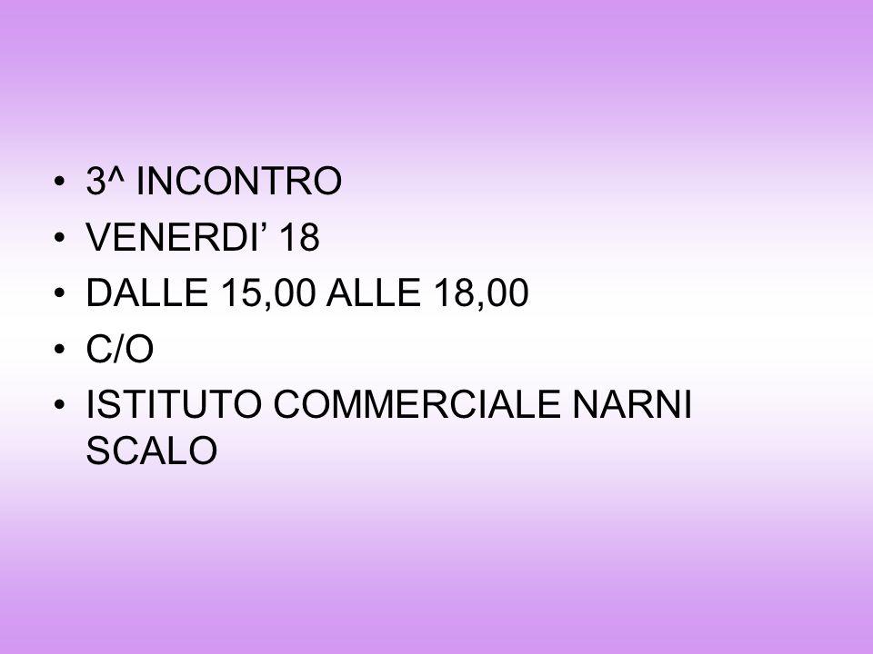 3^ INCONTRO VENERDI' 18 DALLE 15,00 ALLE 18,00 C/O ISTITUTO COMMERCIALE NARNI SCALO