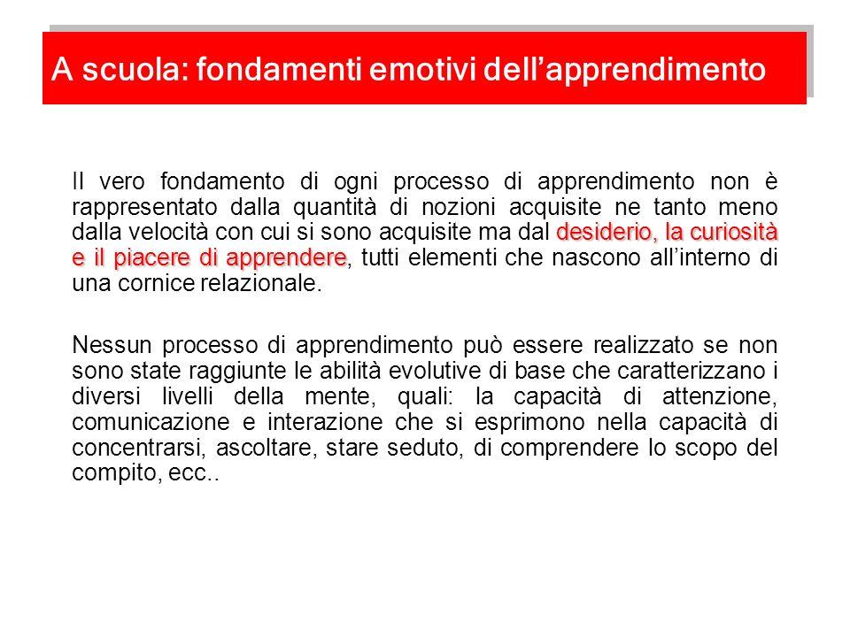 A scuola: fondamenti emotivi dell'apprendimento