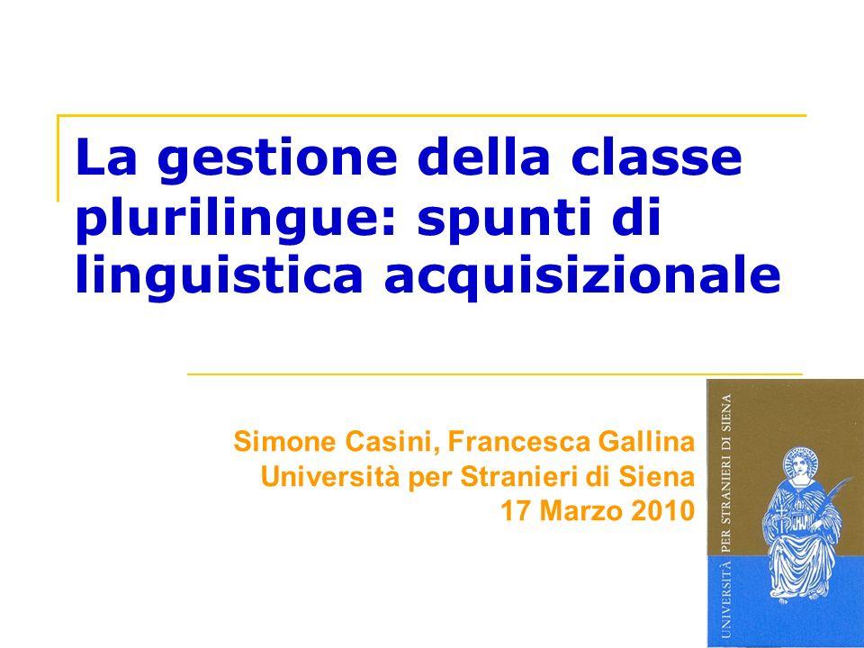 La gestione della classe plurilingue: spunti di linguistica acquisizionale