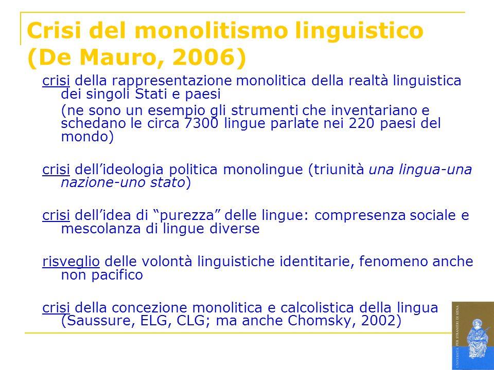 Crisi del monolitismo linguistico (De Mauro, 2006)