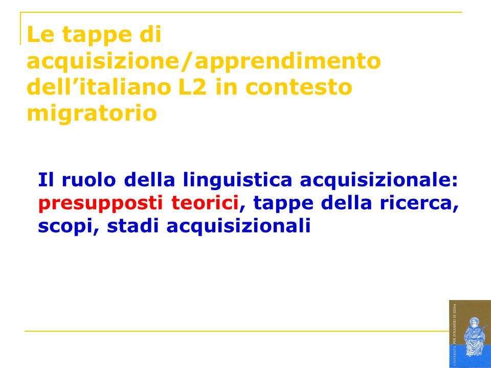 Le tappe di acquisizione/apprendimento dell'italiano L2 in contesto migratorio