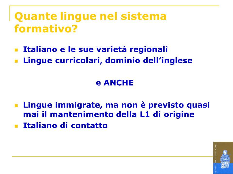 Quante lingue nel sistema formativo