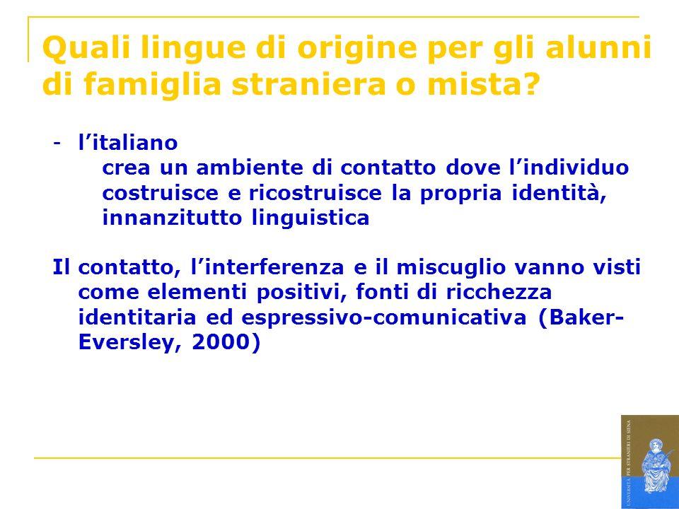 Quali lingue di origine per gli alunni di famiglia straniera o mista