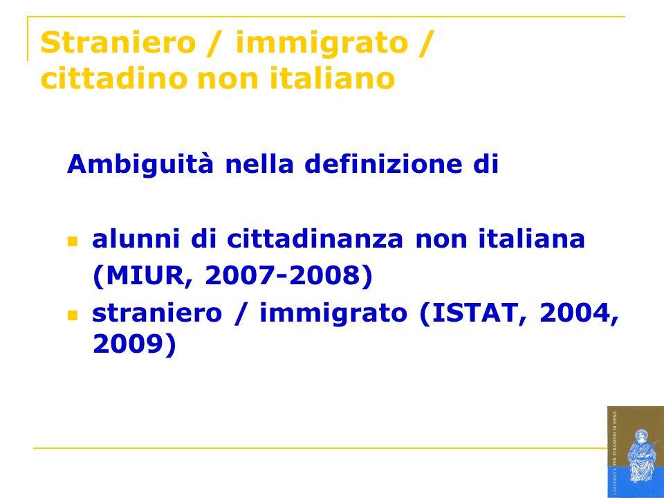 Straniero / immigrato / cittadino non italiano