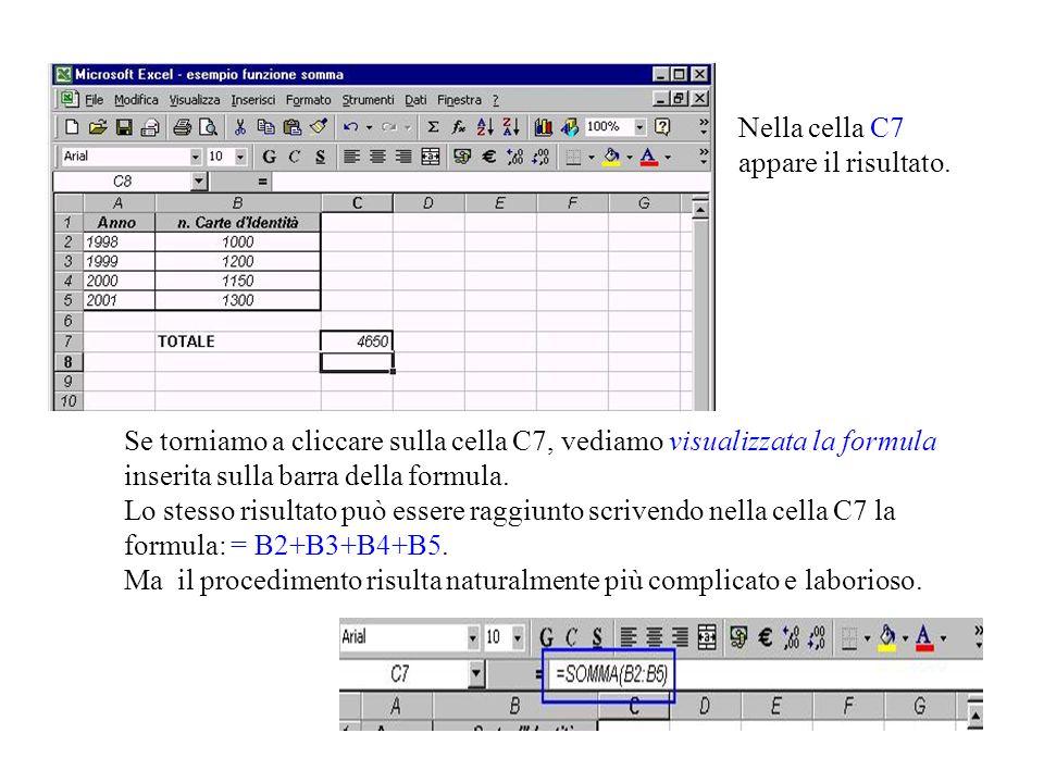 Se torniamo a cliccare sulla cella C7, vediamo visualizzata la formula inserita sulla barra della formula. Lo stesso risultato può essere raggiunto scrivendo nella cella C7 la formula: = B2+B3+B4+B5. Ma il procedimento risulta naturalmente più complicato e laborioso.