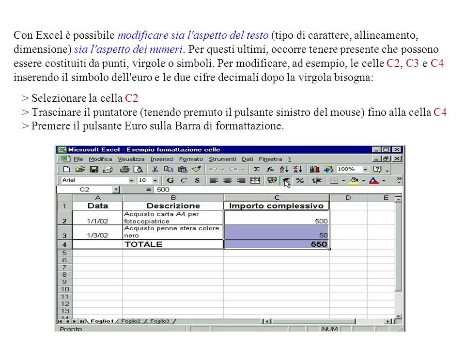 Con Excel è possibile modificare sia l aspetto del testo (tipo di carattere, allineamento, dimensione) sia l aspetto dei numeri.
