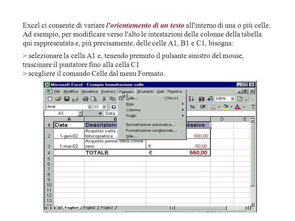 Excel ci consente di variare l orientamento di un testo all interno di una o più celle.