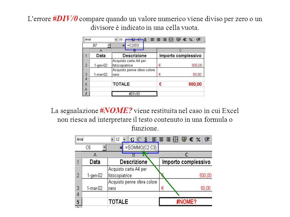 L errore #DIV/0 compare quando un valore numerico viene diviso per zero o un divisore è indicato in una cella vuota.