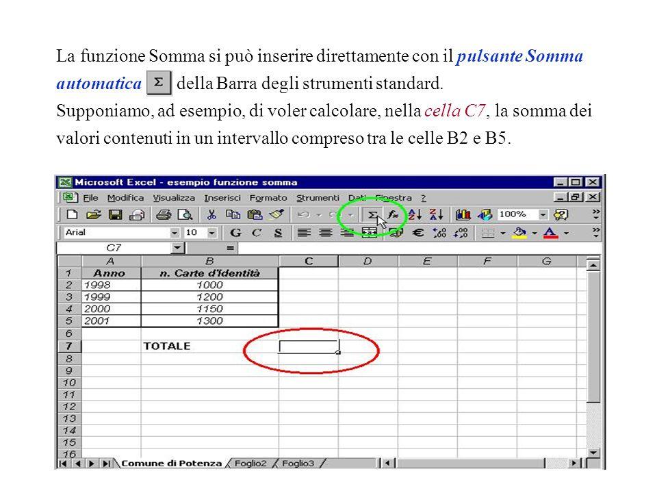 La funzione Somma si può inserire direttamente con il pulsante Somma automatica della Barra degli strumenti standard.