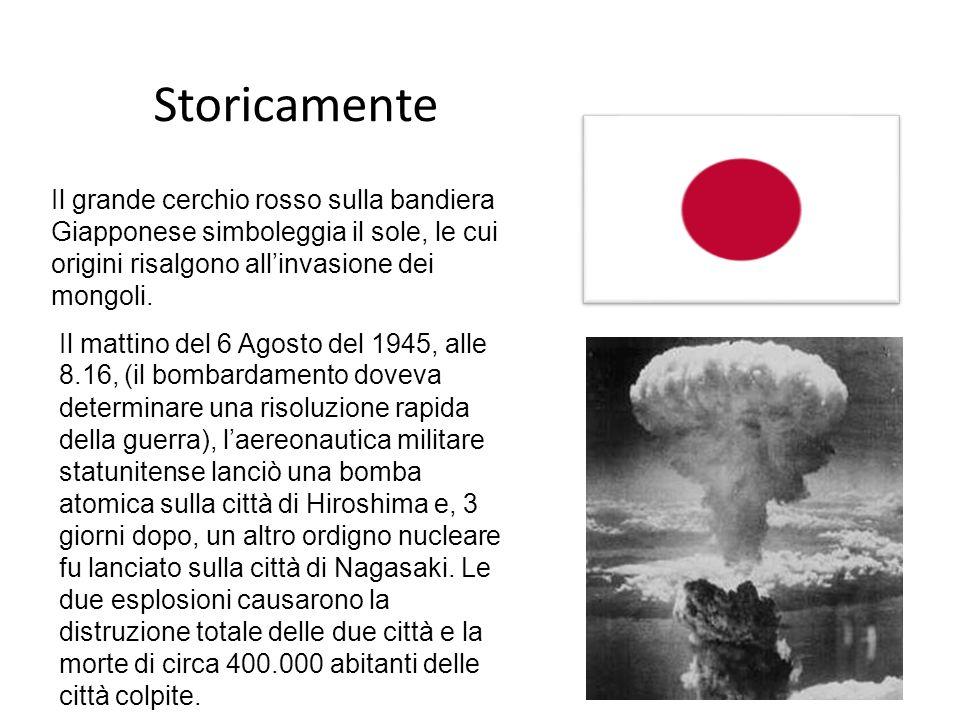 Storicamente Il grande cerchio rosso sulla bandiera Giapponese simboleggia il sole, le cui origini risalgono all'invasione dei mongoli.