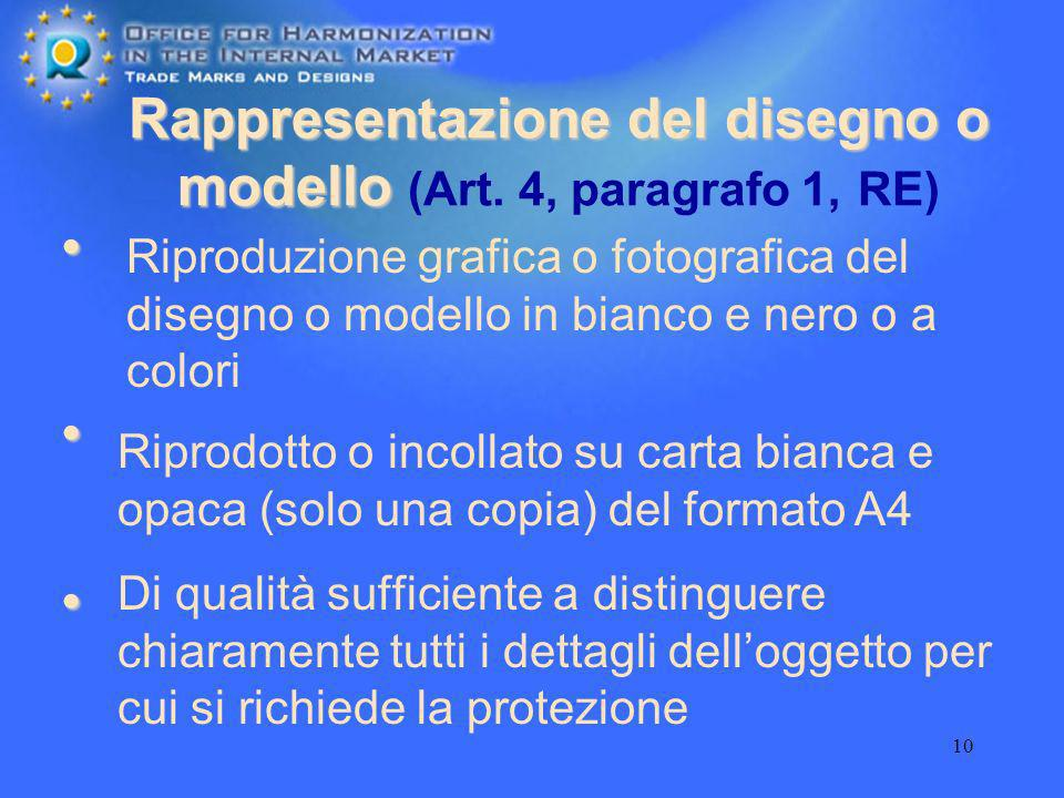 Rappresentazione del disegno o modello (Art. 4, paragrafo 1, RE)