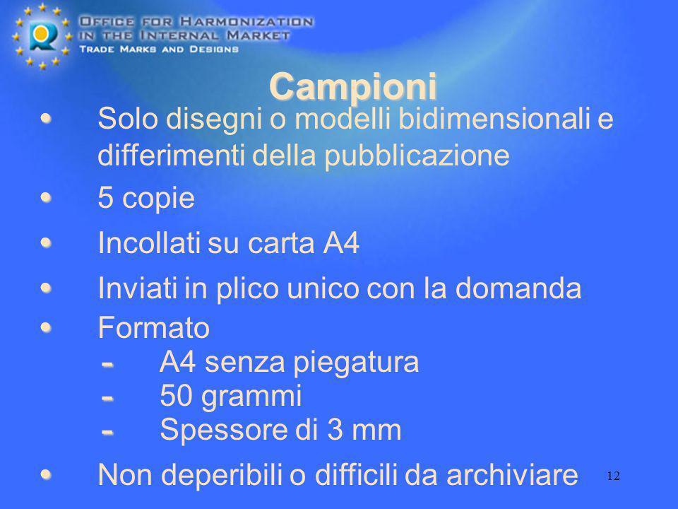 Campioni Solo disegni o modelli bidimensionali e differimenti della pubblicazione. 5 copie. Incollati su carta A4.