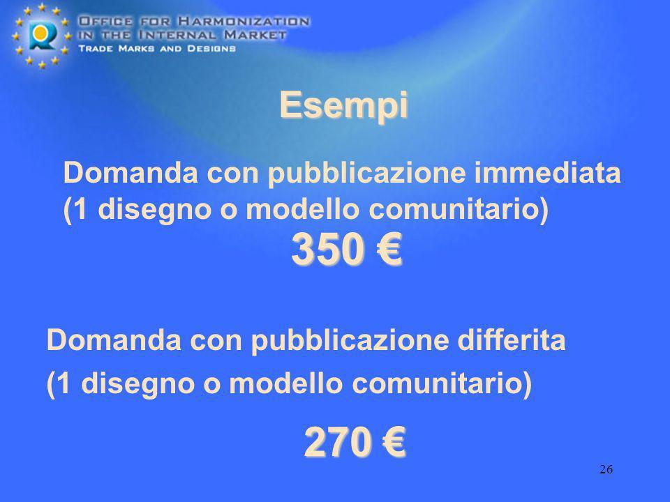 EsempiDomanda con pubblicazione immediata (1 disegno o modello comunitario) 350 € Domanda con pubblicazione differita.