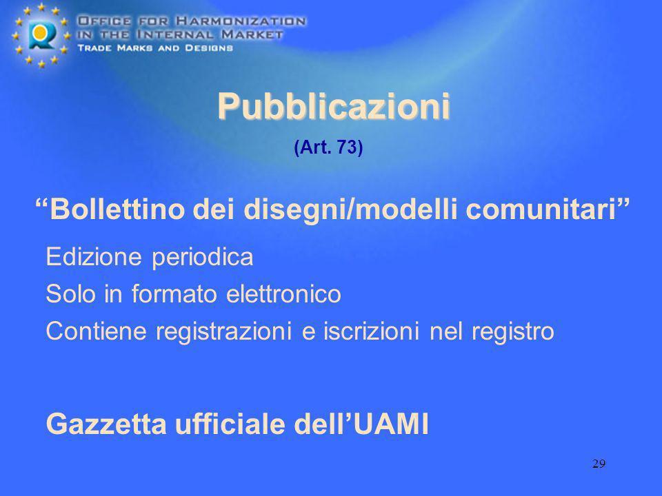 Pubblicazioni Bollettino dei disegni/modelli comunitari