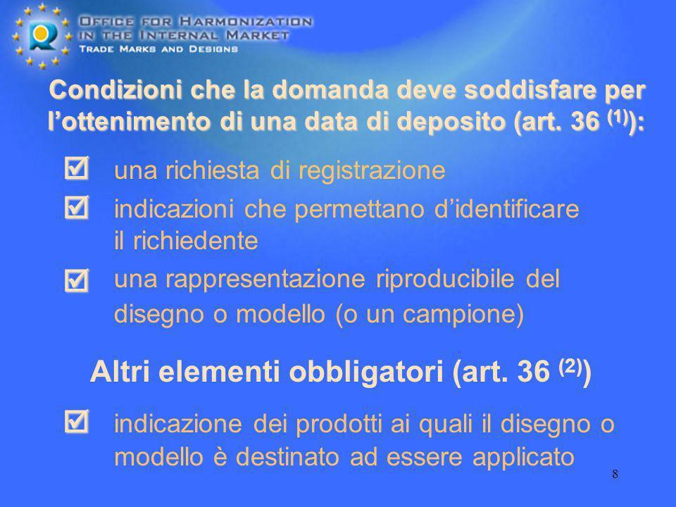 Altri elementi obbligatori (art. 36 (2))