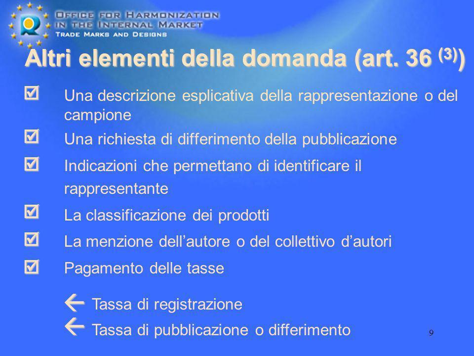 Altri elementi della domanda (art. 36 (3))