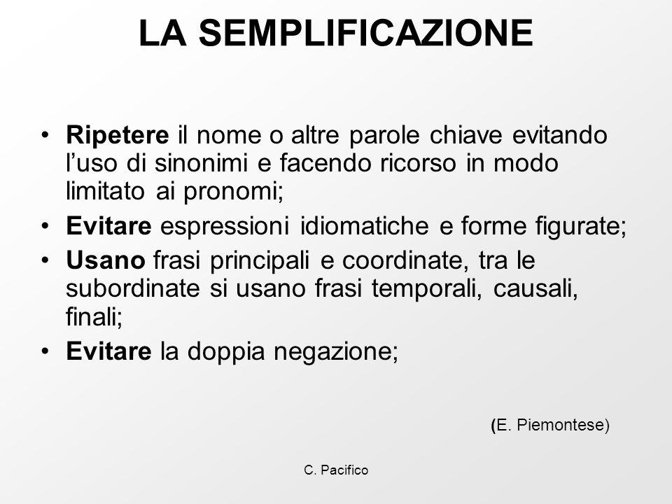 LA SEMPLIFICAZIONE Ripetere il nome o altre parole chiave evitando l'uso di sinonimi e facendo ricorso in modo limitato ai pronomi;
