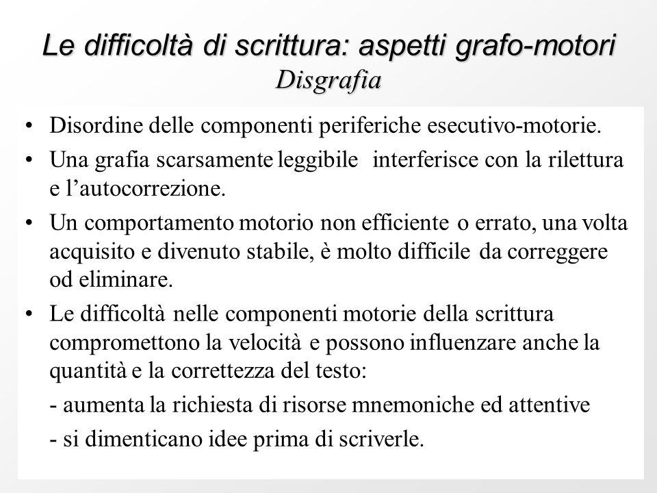 Le difficoltà di scrittura: aspetti grafo-motori Disgrafia