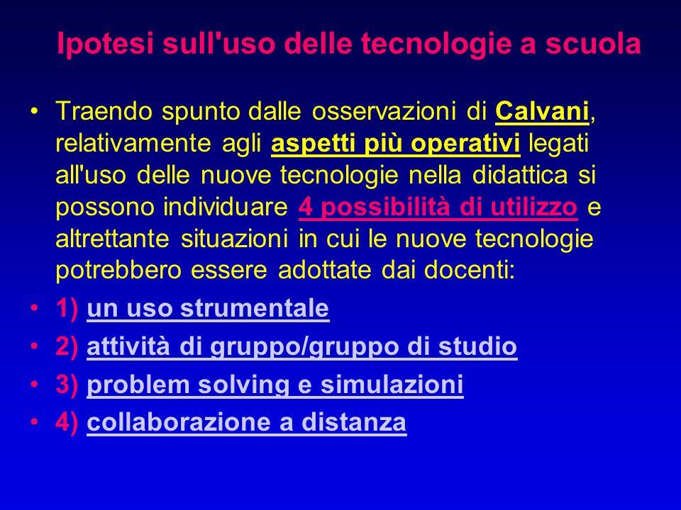 Ipotesi sull uso delle tecnologie a scuola