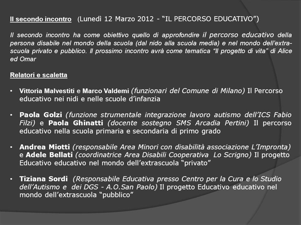 Il secondo incontro (Lunedì 12 Marzo 2012 - IL PERCORSO EDUCATIVO )