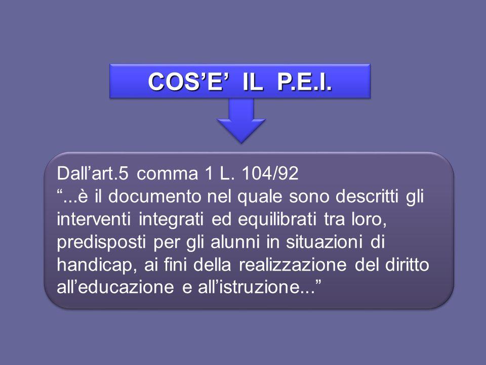 COS'E' IL P.E.I. Dall'art.5 comma 1 L. 104/92