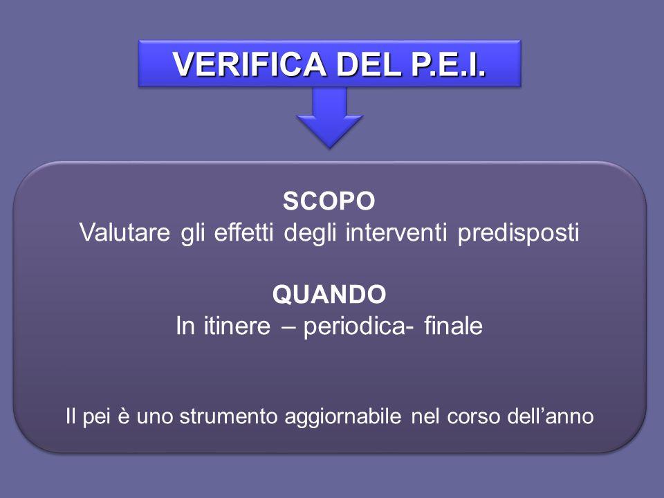 VERIFICA DEL P.E.I. SCOPO. Valutare gli effetti degli interventi predisposti. QUANDO. In itinere – periodica- finale.