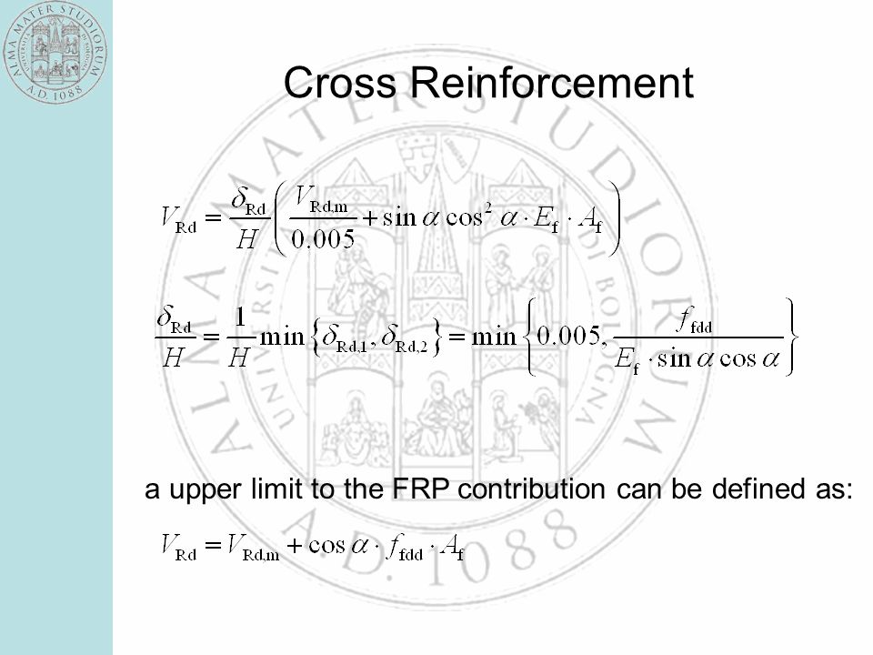 Cross Reinforcement a upper limit to the FRP contribution can be defined as: