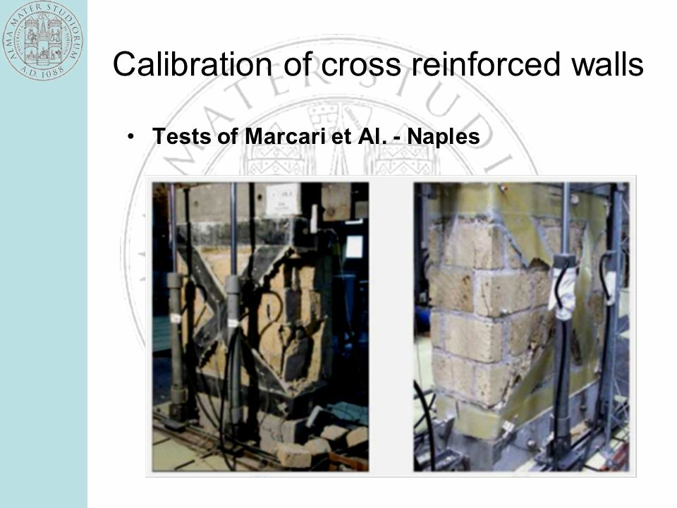 Calibration of cross reinforced walls