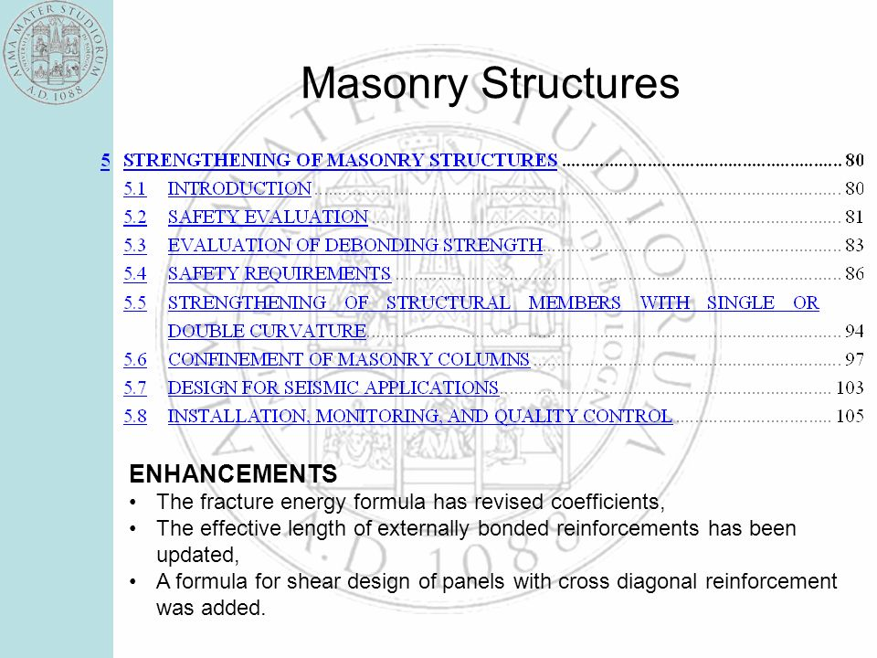 Masonry Structures ENHANCEMENTS