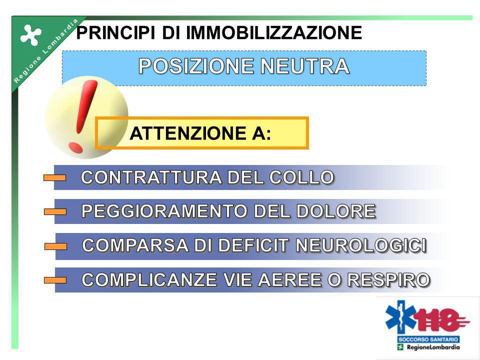 POSIZIONE NEUTRA PRINCIPI DI IMMOBILIZZAZIONE ATTENZIONE A: