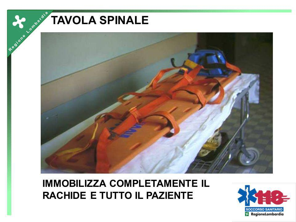 TAVOLA SPINALE IMMOBILIZZA COMPLETAMENTE IL RACHIDE E TUTTO IL PAZIENTE.