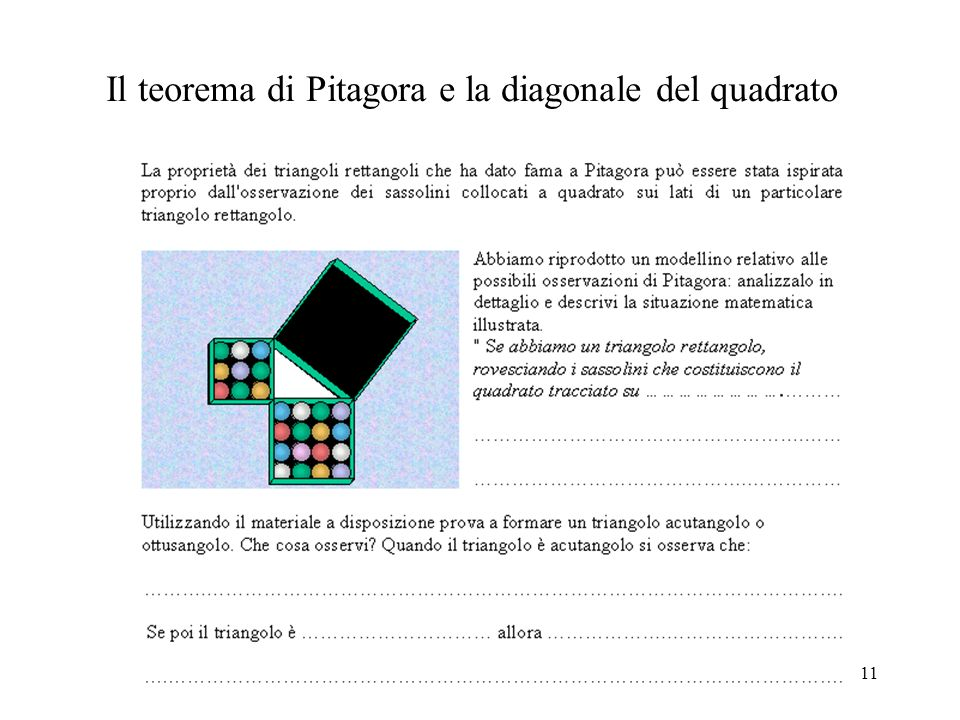 Il teorema di Pitagora e la diagonale del quadrato