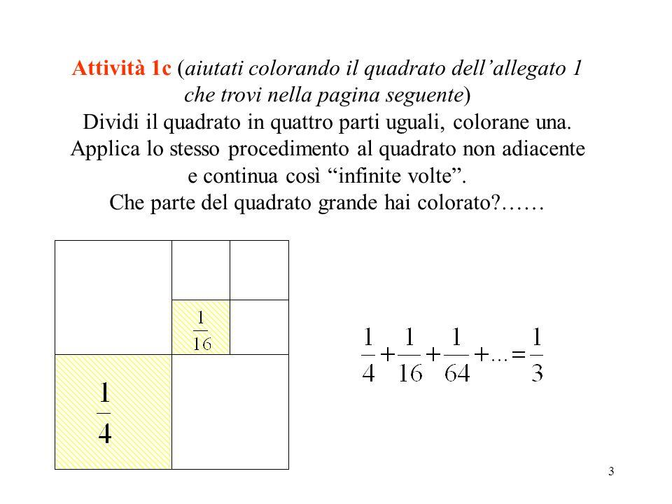 Dividi il quadrato in quattro parti uguali, colorane una.