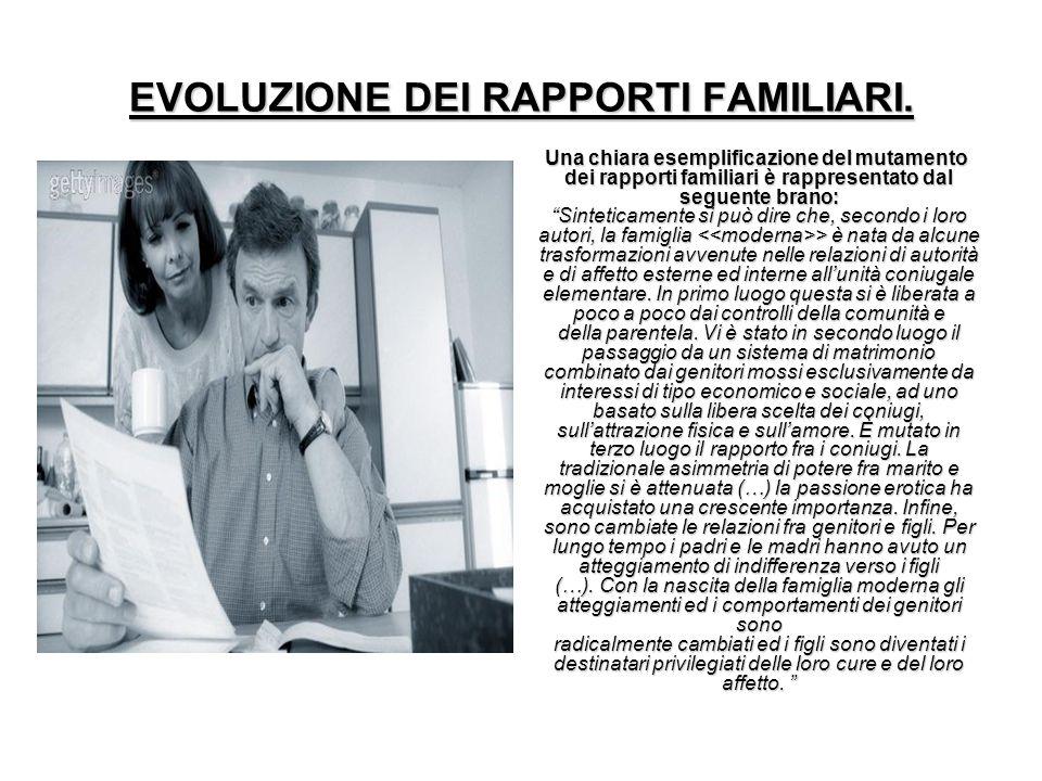 EVOLUZIONE DEI RAPPORTI FAMILIARI.