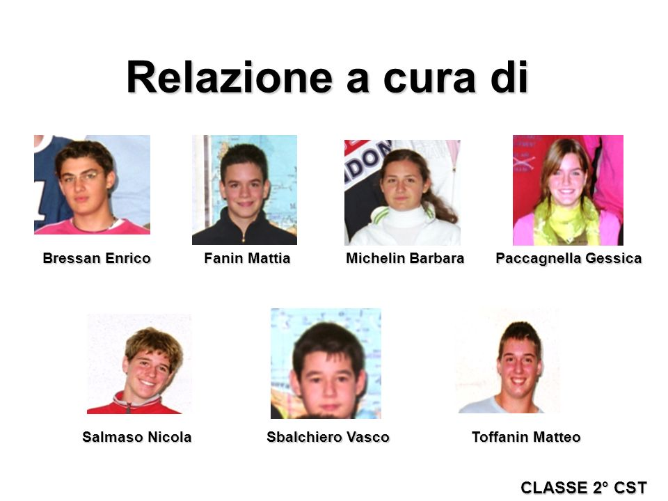 Relazione a cura di CLASSE 2° CST Bressan Enrico Fanin Mattia