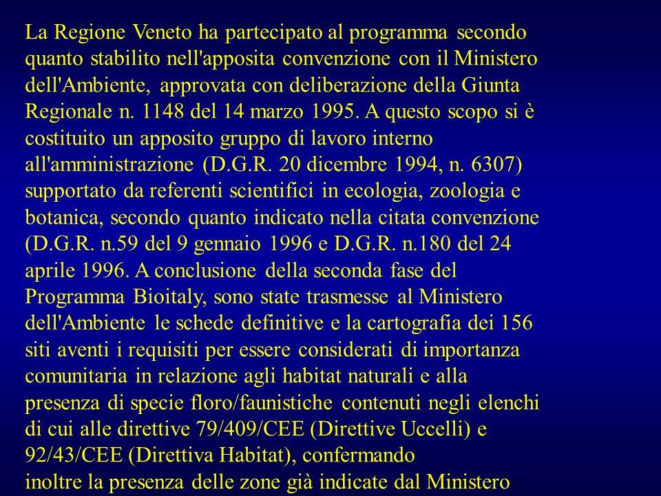 La Regione Veneto ha partecipato al programma secondo quanto stabilito nell apposita convenzione con il Ministero dell Ambiente, approvata con deliberazione della Giunta Regionale n. 1148 del 14 marzo 1995. A questo scopo si è costituito un apposito gruppo di lavoro interno