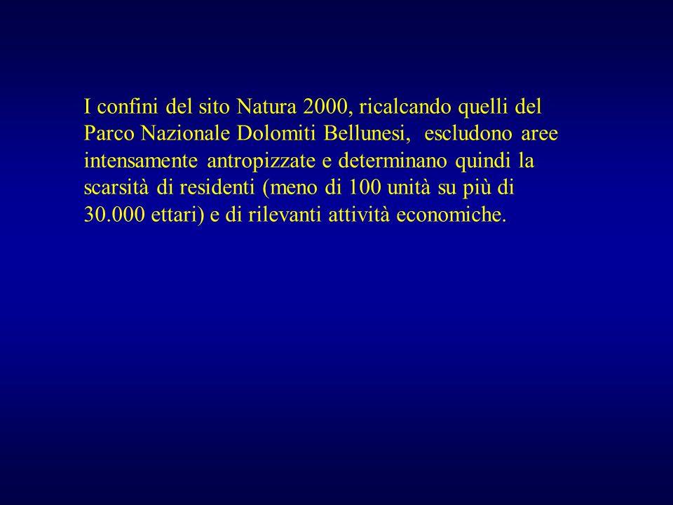 I confini del sito Natura 2000, ricalcando quelli del Parco Nazionale Dolomiti Bellunesi, escludono aree intensamente antropizzate e determinano quindi la scarsità di residenti (meno di 100 unità su più di 30.000 ettari) e di rilevanti attività economiche.