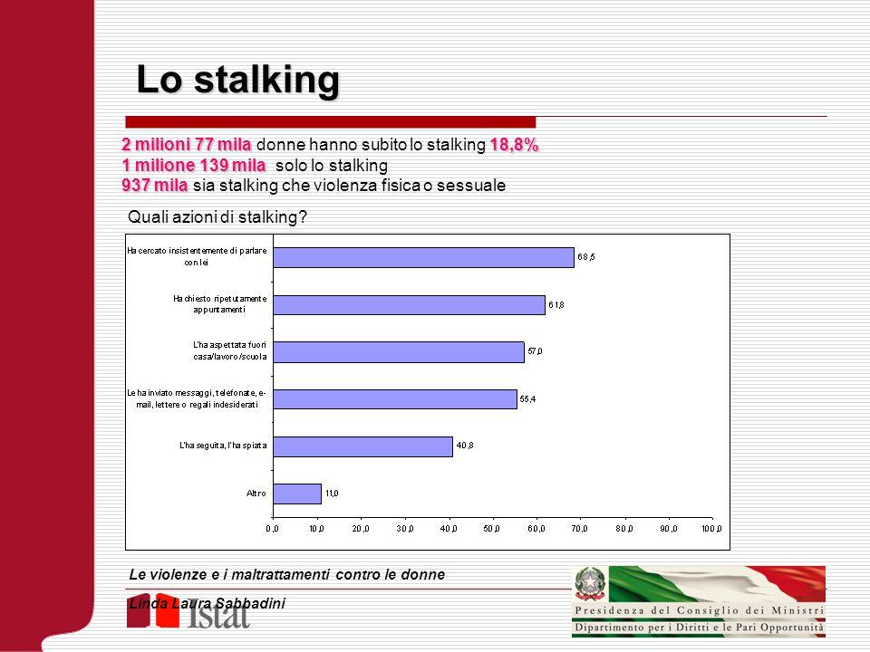 Lo stalking 2 milioni 77 mila donne hanno subito lo stalking 18,8%