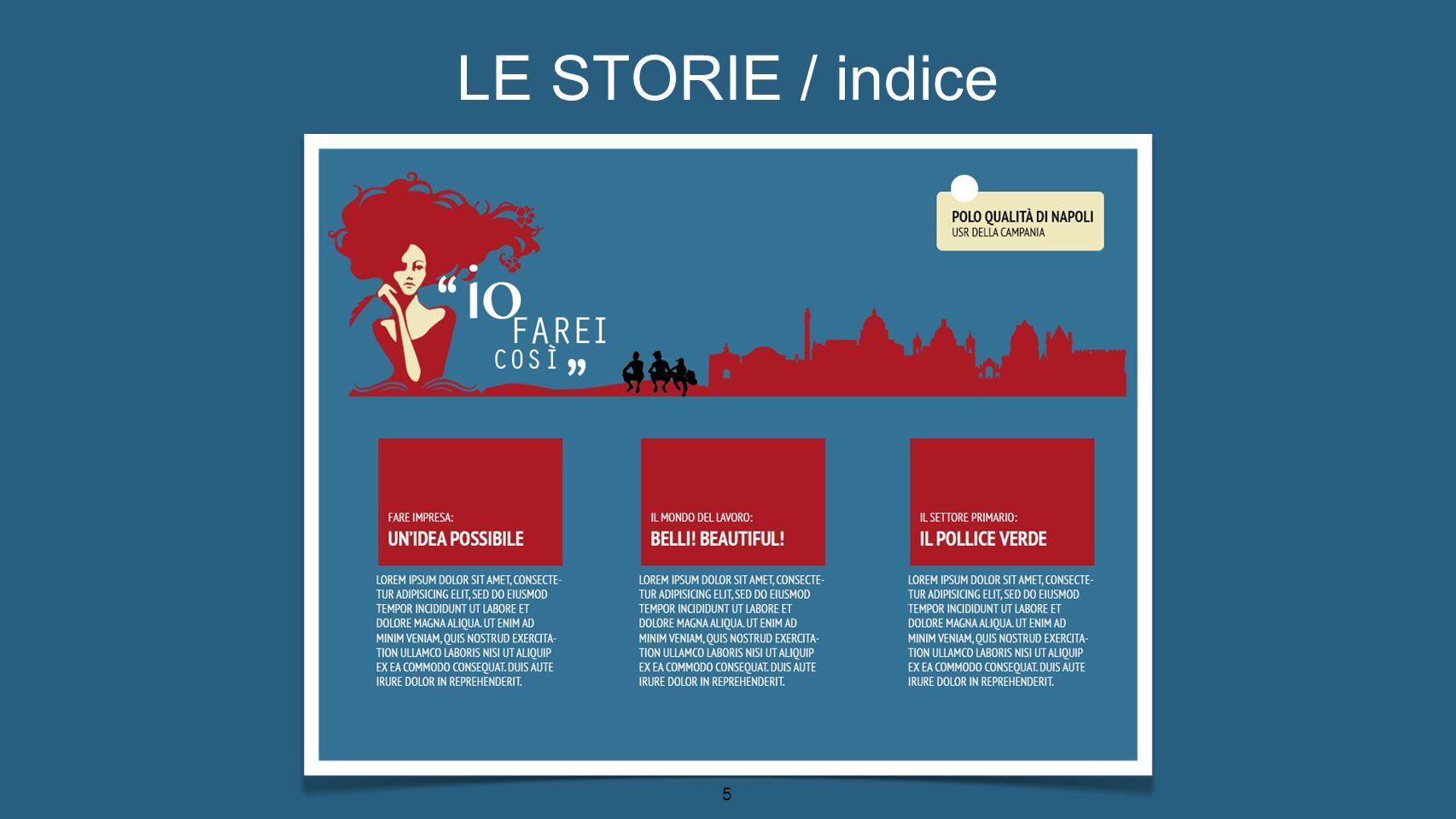 LE STORIE / indice