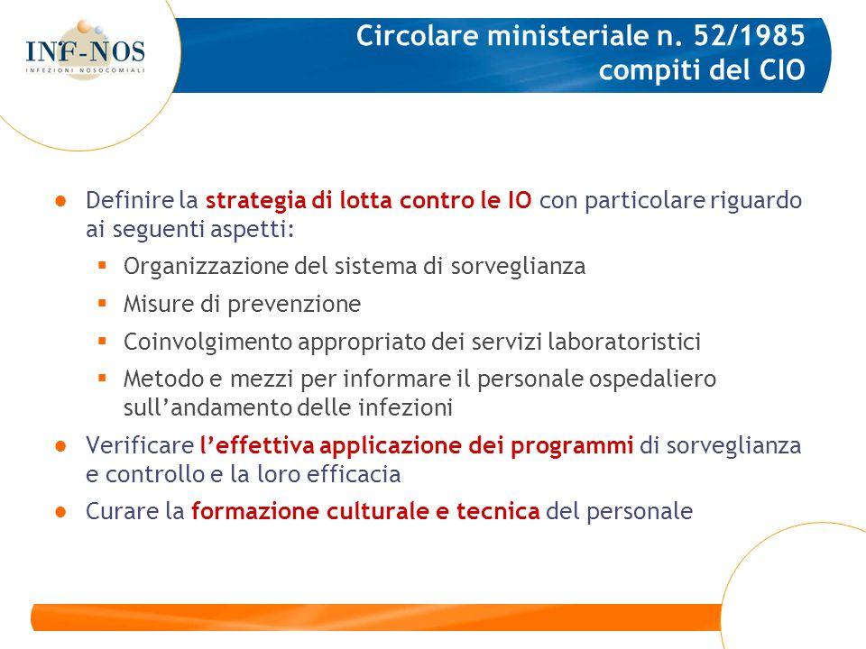 Circolare ministeriale n. 52/1985 compiti del CIO