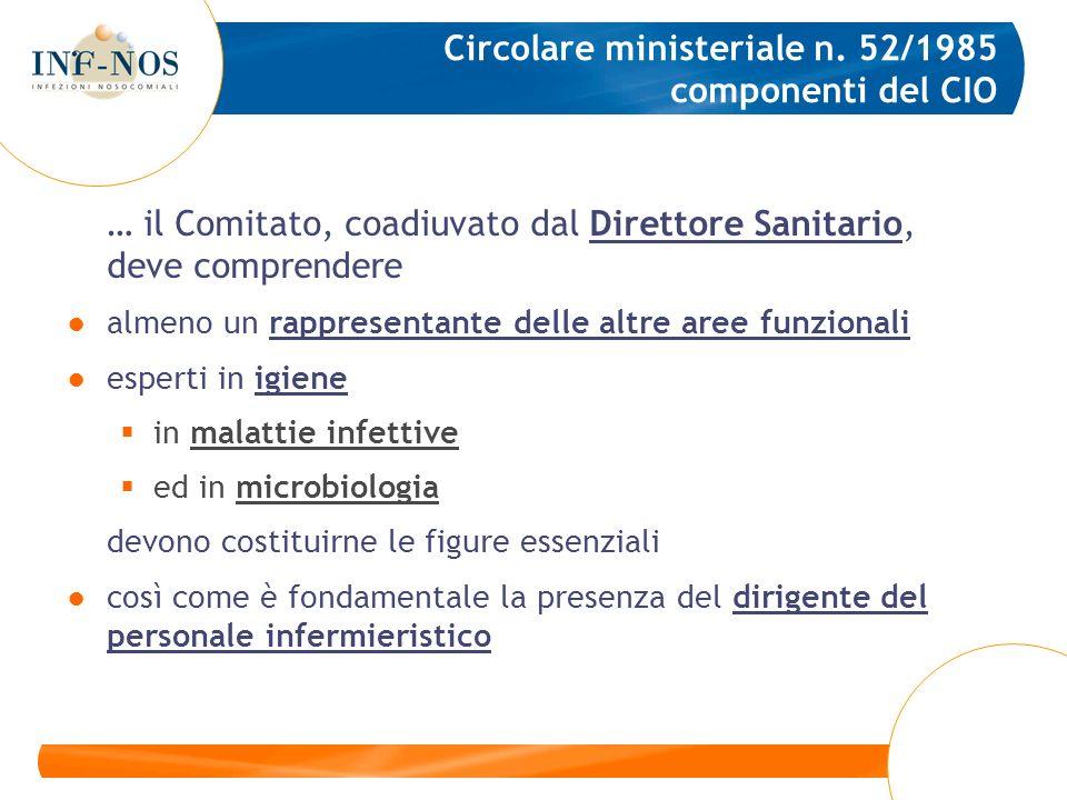 Circolare ministeriale n. 52/1985 componenti del CIO