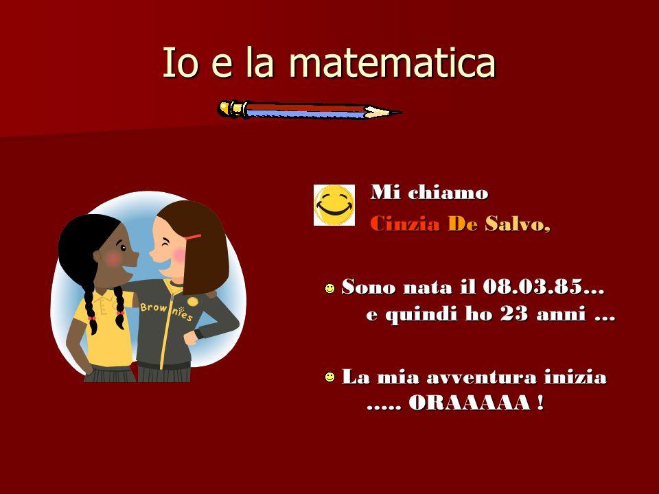 Io e la matematica Mi chiamo Cinzia De Salvo,
