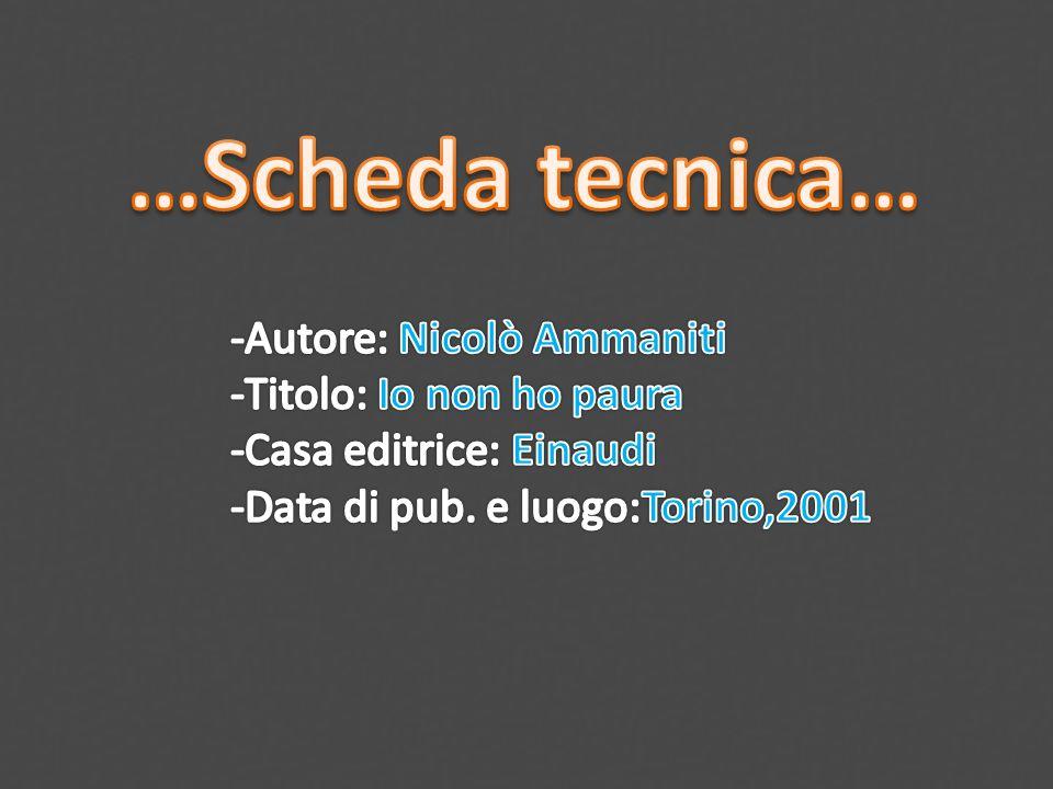 …Scheda tecnica… -Autore: Nicolò Ammaniti -Titolo: Io non ho paura