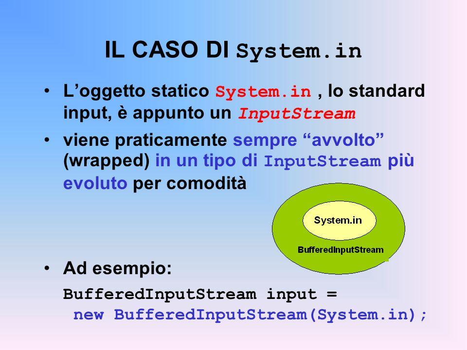 IL CASO DI System.in L'oggetto statico System.in , lo standard input, è appunto un InputStream.