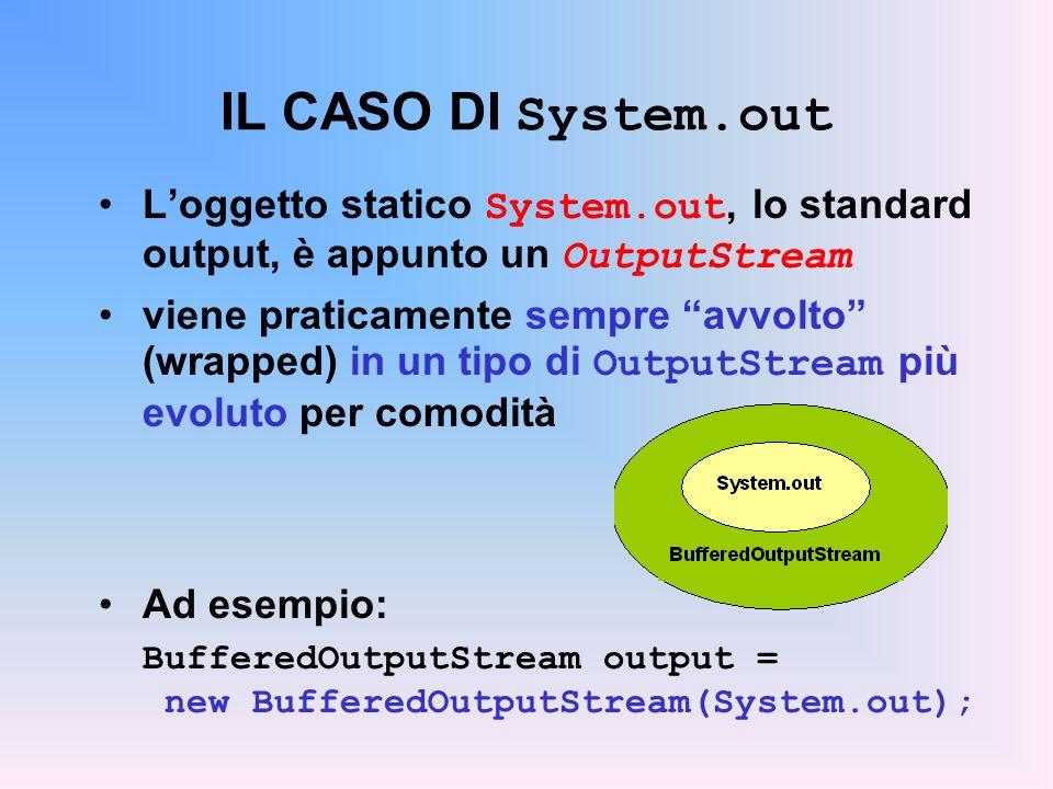 IL CASO DI System.out L'oggetto statico System.out, lo standard output, è appunto un OutputStream.