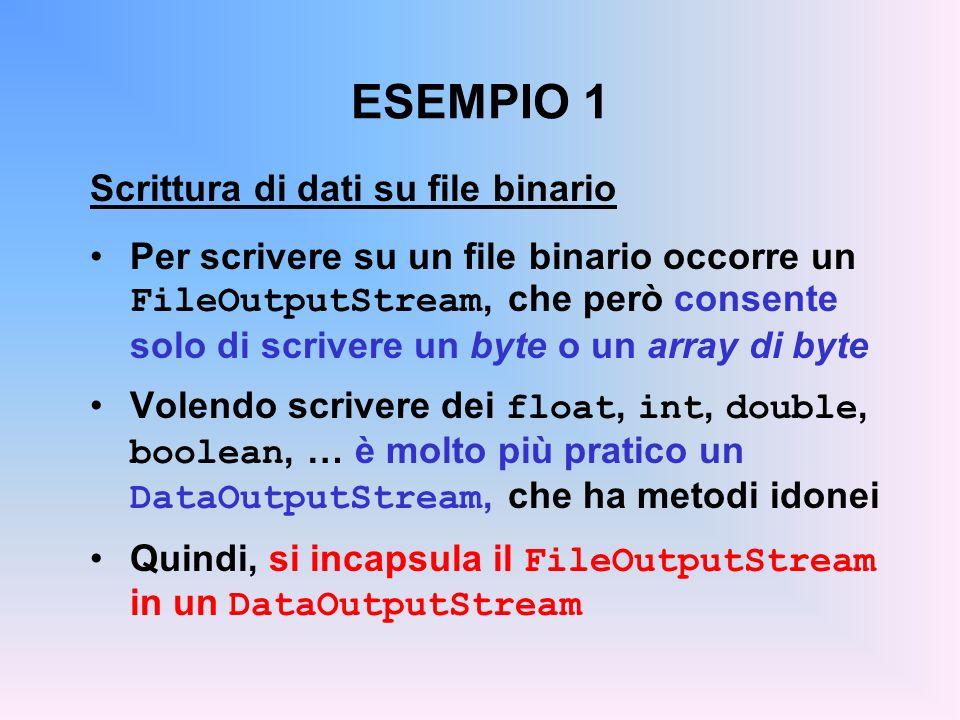 ESEMPIO 1 Scrittura di dati su file binario